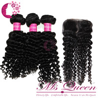 middle part brazilian hair curl lace top closure and curly weft virgin hair 3 bundles hair weft with closures  (3.5 *4 )