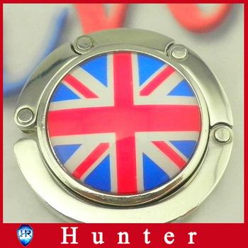 British flag Foldable Glossy Handbag Bag Purse Hanger Hook Holder for Restaurant Dinning Wedding Party event tables