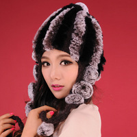 13605 Real Rex rabbit fur hat wool Beanie hat cap ladies' headgear ski hat gift