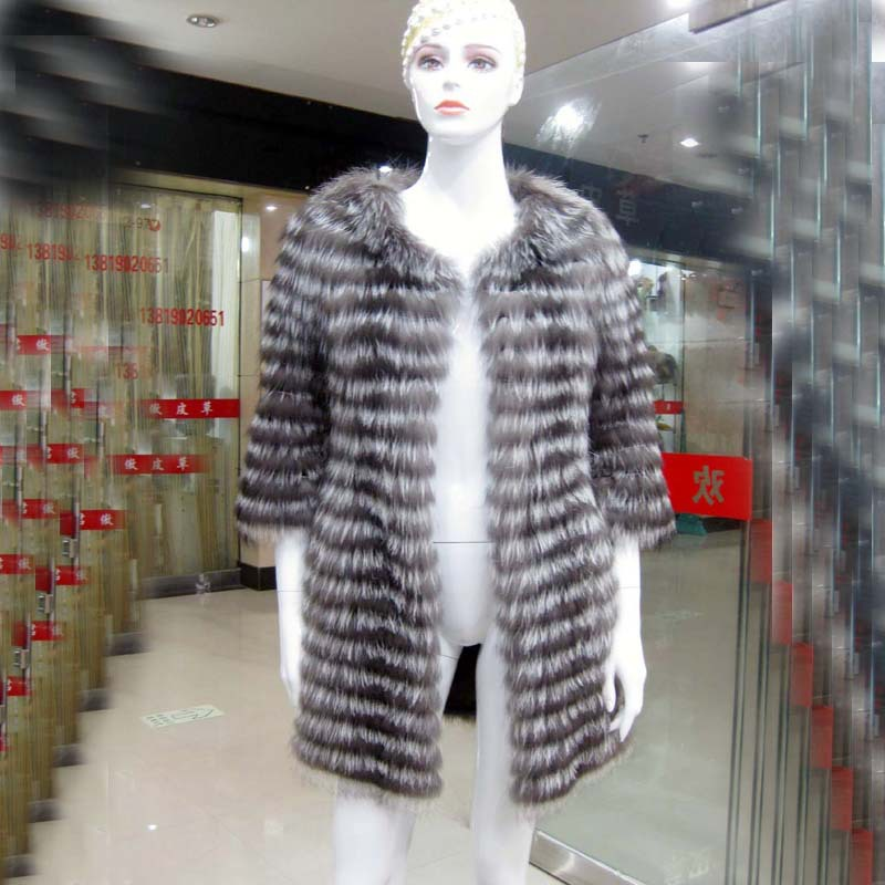 Hot ! New 2013 Fashion Natural Coats Fur Winter Women's Real Trimming Silver Fox Fur Jacket coat Women Stripe Designer(China (Mainland))