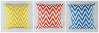 45*45 cm Home Decoration Chevron Zigged Wave Cotton Linen Cushion Cover Pillow Case for Sofa Car , 3 pcs/set