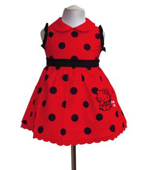 Baby Girl Fashion Polka Dot Summer Sleeveless Dresses Girls Cotton Dress Child Hello Kitty Princess Party Dress Clothing