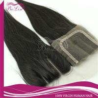 Stock Order Grade AAAAAA Brazilian Virgin Hair  brazilian straight hair closure Three Part  Lace Closure