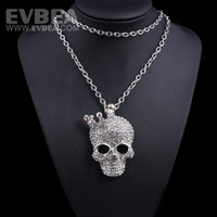 ladies long necklaces pendants skull necklace women stainless steel skull pendant necklace crystal rhinestone necklace 2014