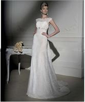 Elegant Lace Strap Curved Neckline Discount Cheap Wholesale Designer Vintage 2014 Ivory Bridal Gown Wedding Dresses In Stock Hot