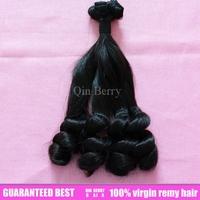 Queen berry  sensational 2 bundles  super  eurasian virgin huam modern unprocessed hand tied top flat ends loose hair  extension