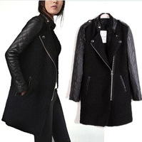 casacos femininos 2014 desigual coat women leather sleeve splice winter trench long woolen outerwear wool coat sobretudo