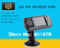 "Car DVR Recorder R280 + 2.0"" TFT High Definition LCD + Full HD 1080P 30FPS + HDMI + H.264 + Motion Detection + Free Ship"
