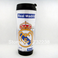 Free Shipping Real Madrid CF  football fans Plastic Travel Mug Thermal Mug Snap Lid Coffee Mug Cup Sports cups 12 OZ 350ml NEW