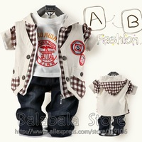 2013 Newest Style Three-Piece Kids Clothes 3Set/lot Children Clothing Suit Baby Boys Clothes Suit 3pcs/set