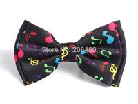 "Free shipping-Bow tie for Women Men's Unisex Fashion ""Rainbow Music Note Black"" pattern Tuxedo Dress Bowtie Retail & Wholesale"