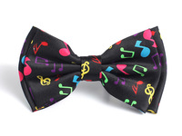 "Free shipping-Bow tie for Women Men's Unisex Fashion ""Rainbow Music Note Black"" pattern Tuxedo Dress Bowtie Retail & Wholesale"