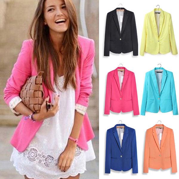 Blazer Women Feminino New 2014 Candy Color Jackets Suit One Button Slim Yellow Ladies Blazers Work Wear Blaser Feminino K071(China (Mainland))