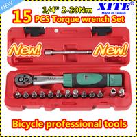 "Taiwan XITE 1/4""DR 2-20Nm 15 PCS torque wrench Bicycle bike tools kit set tool bike repair spanner SET"