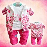 BB003 Free shipping 2013 New arrive baby clothing set Velvet girl 3 pcs suit coat+t-shirt+pants autumn kids wear Retail