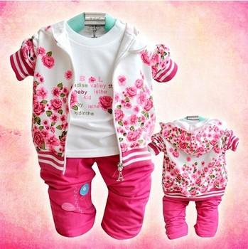 BB003  arrive baby clothing set Velvet girl 3 pcs suit coat+t-shirt+pants autumn ...