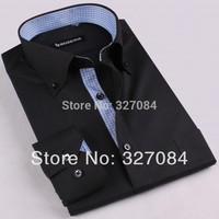 new 2015 men Fashion Slim Fit Business Casual Dress Shirt Long Sleeve Black Cotton high quality size xxxl Free Shipping GZ05