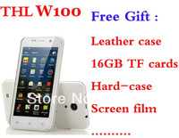 "SG Free shipping THL W100S Gift Original Leather case Quad Core 4.5 Inch IPS Screen Android 4.2 Unlocked 3G 4.5"" QHD GPS 1G/4G"