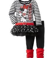 2014 New Arrival O-neck Long Sleeves Striped Cartoon Minnie Mouse Mini tutu Skirt T shirt One Set+Long Pants Leggings Girls Suit