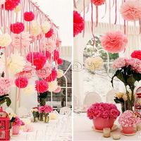 10pcs/set  20cm (8inch)  Flower Pom Poms Ball Tissue Paper Pom Poms flower 20 colors wedding Birthday Parties Baby Showers