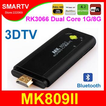 Wholesale MK809II Dual Core RK3066 Android TV Box  1G RAM 8G ROM Mini PC Smart TV Stick Media Player Miracast Bluetooth MK809 II