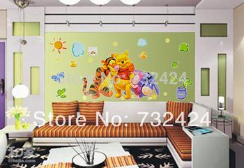 Cheapest Popular PVC Cartoon Tigers and Bear Wall Sticker Wall Mural Home Decor Room Decor Kids Room #005 6351