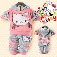 New 2013 2piece suit set Girl's Hello Kitty clothing sets velvet Sport suits hoody jackets +vest +Pants Clothing Sets