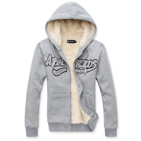 Mens winter cold necessary within plus velvet thick hoodie Mens cardigan sweater jacket fashion sportswear embossed letters