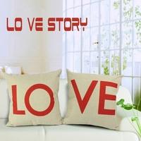 45*45CM Cotton linen 2pcs/lot lovers letters hugging pillow covers cushion covers mats for floor chair sofa car SMC013T