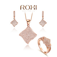 ROXI Jewelry luxurious Set rose plated with CZ diamonds fashion Environmental Micro-Inserted Jewelry,08080042184