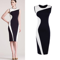 Free Shipping New Fashion Womens Vintage Celeb Style Pinup Bodycon Colorblock Business Party Pencil knee-length Dress D0096