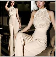 Korean Fashion Star Elegant Jumpsuit Women 2013 Rompers Ladies Jumpsuit  Halter Pearl Lace Patchwork Jumpsuits&Rompers S/M