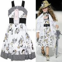 Monnalisa girl dress 100% cotton brand tank dress baby girl summer clothing kids white floral vest dress with belt high quality