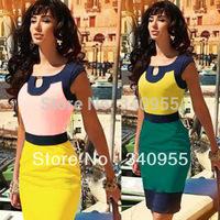 Women Square Collar Sleeveless Knee-length Colorblock Celeb Style Keyhole Bodycon Stretch Slim Party Pencil Dress