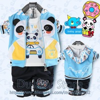 Free Shipping wholesale 3sets/lot Baby Suits Children Clother Outer Hoody Cotton T-shirt Pants Toddler Sweat Suits Spring Autumn