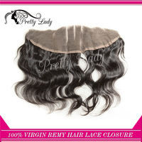 Pretty lady 3 parting Brazilian Virgin Remy hair weaves body wavy   4x13 top lace frontal closure free shipping