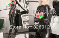 Latex rubber zentai suit latex catsuit full cover body open breast open crotch for women