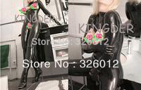 Latex rubber zentai suit open breast open crotch for women