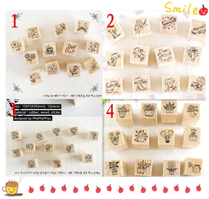 12 pcs/lot DIY Cute Cartoon Cats Flowers Girls Bonsai Wood Stamps for Kids Decor Diary Scrapbookin