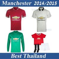 Falcao Manchester 14 15 Women Kids Jersey Van Persie Rooney Luke Shaw Mata Best Thai Quality Long Sleeve Jersey Boys Children