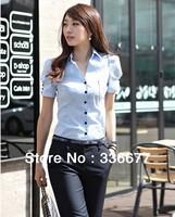 Elegant designer High quality Slim fit Formal shirt Light blue Tuxedo lady business shirt work shirt S M L XL XXL QR-1053