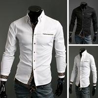 New 2014 Desigual Men Leopard Grain Decoration Long Sleeve Shirt, Slim Fit, Shirts Cotton For Men Fashion Clothing 8621