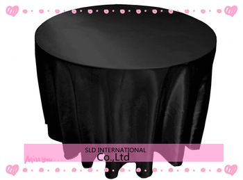10pcs/lot free shipping Satin Black  Cheap Round Tablecloths 108'' round for wedding