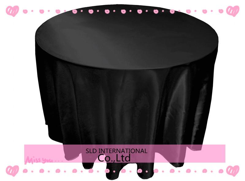 10pcs/lot free shipping Satin Black Cheap Round Tablecloths 108'' round for wedding(China (Mainland))