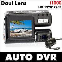 2014 Hot New Dual Lens car dvr camera recorder I1000 vehicle black box HD 720P 130M lens 2.0TFT HDMI USB G.sensor Free shipping