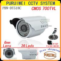 "100% Original 1/4""CMOS 700TVL IR-CUT Filter 960H 36leds IR outdoor/indoor waterproof Day/night CCTV Camera with bracket."