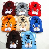 Winter Baby Warm Hats Boys Fashion Cartoon Tiger Animal Caps Beanie Children's Accessories Cute Knitted Kids Hat For Girls