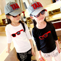 2013 autumn fall children clothing glasses patchwork pu boy girls clothes cotton long sleeve shirts t shirt boys 3T-10
