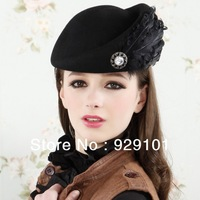 2013 Spring and autumn women's pure wool feather beret elegant feather fedoras painter cap stewardess cap