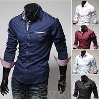 2014 Men's brand shirt Mens long sleeve dress shirt  fashion 5 color business Formal suit Casual shirts Cotton